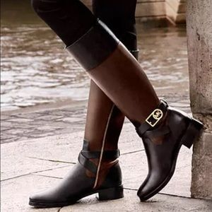 Michael Kors Bryce tall boot. black and brown.